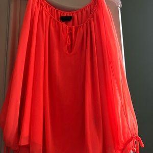 BCBG Maxazria neon orange blouse size M